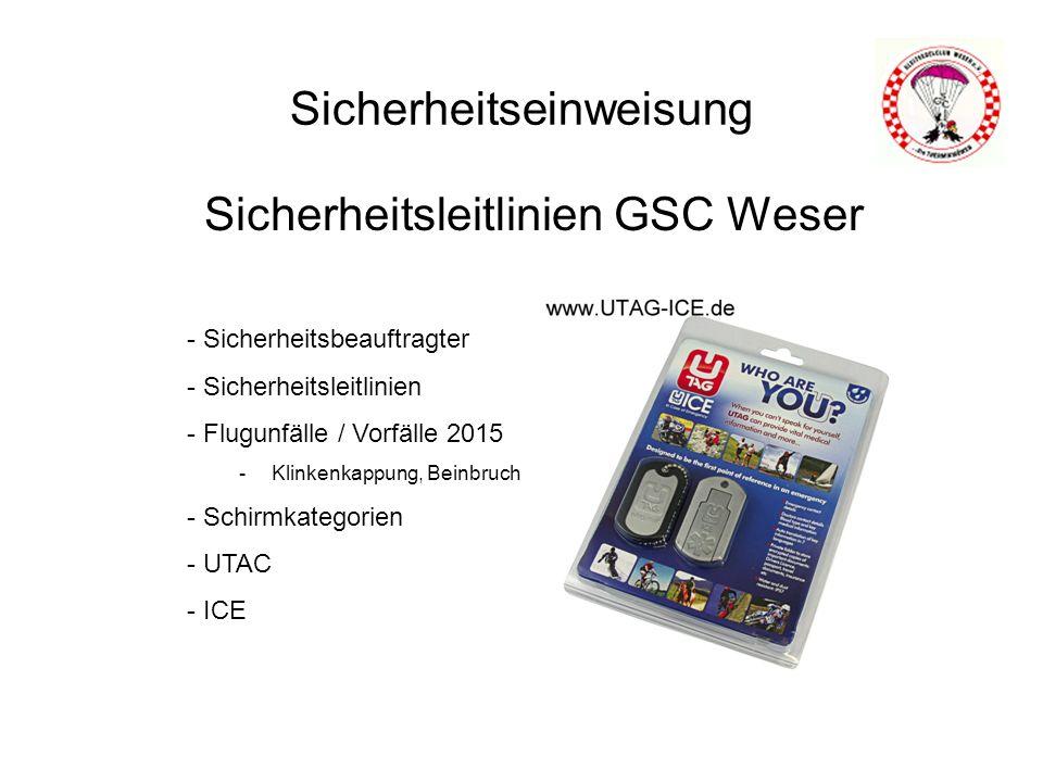 Sicherheitseinweisung Sicherheitsleitlinien GSC Weser - Sicherheitsbeauftragter - Sicherheitsleitlinien - Flugunfälle / Vorfälle 2015 -Klinkenkappung, Beinbruch - Schirmkategorien - UTAC - ICE