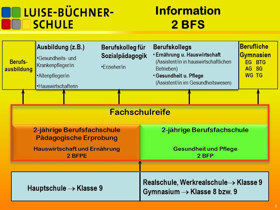 Information 2 BFS 4 Hauptschule  Klasse 9 Realschule, Werkrealschule  Klasse 9 Gymnasium  Klasse 8 bzw.
