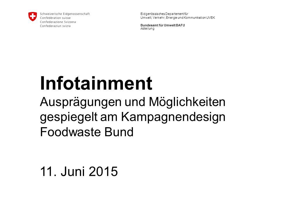 Eidgenössisches Departement für Umwelt, Verkehr, Energie und Kommunikation UVEK Bundesamt für Umwelt BAFU Infotainment Ausprägungen und Möglichkeiten gespiegelt am Kampagnendesign Foodwaste Bund 11.
