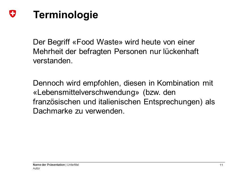 11 Name der Präsentation | Untertitel Autor Terminologie Der Begriff «Food Waste» wird heute von einer Mehrheit der befragten Personen nur lückenhaft verstanden.