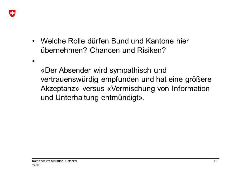 20 Name der Präsentation | Untertitel Autor Welche Rolle dürfen Bund und Kantone hier übernehmen.