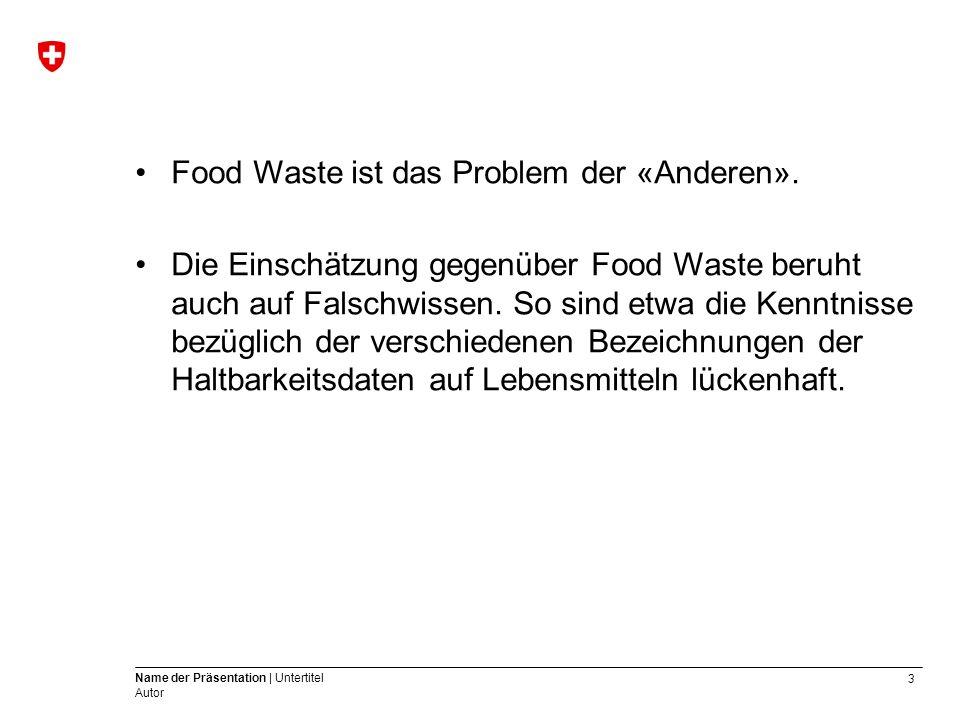 3 Name der Präsentation | Untertitel Autor Food Waste ist das Problem der «Anderen».