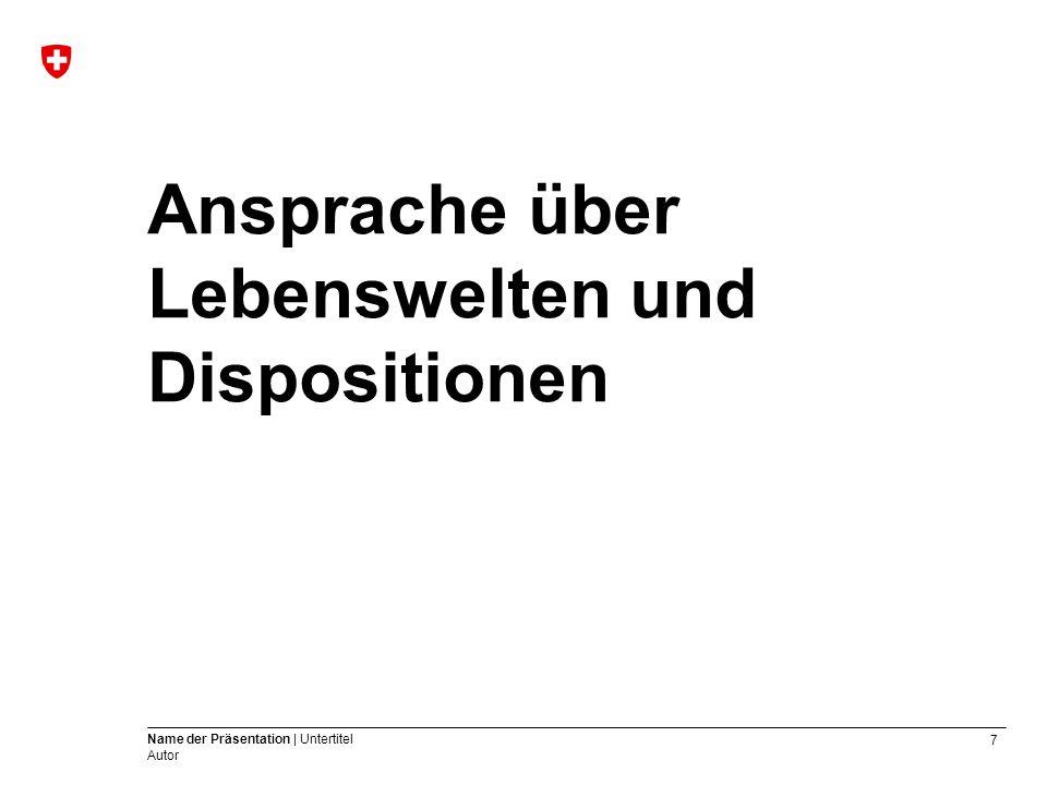 7 Name der Präsentation | Untertitel Autor Ansprache über Lebenswelten und Dispositionen