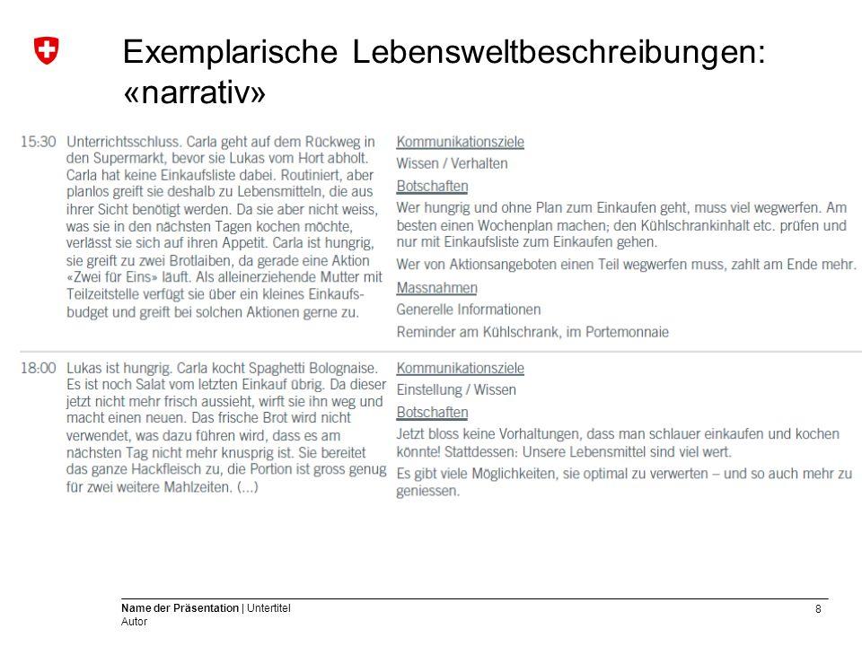 8 Name der Präsentation | Untertitel Autor Exemplarische Lebensweltbeschreibungen: «narrativ»