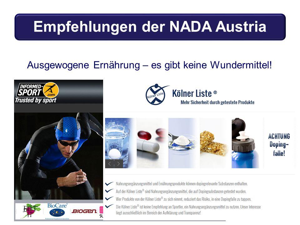 Ausgewogene Ernährung – es gibt keine Wundermittel! Empfehlungen der NADA Austria