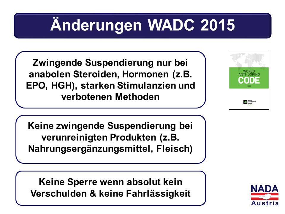 Änderungen WADC 2015 Keine zwingende Suspendierung bei verunreinigten Produkten (z.B. Nahrungsergänzungsmittel, Fleisch) Keine Sperre wenn absolut kei