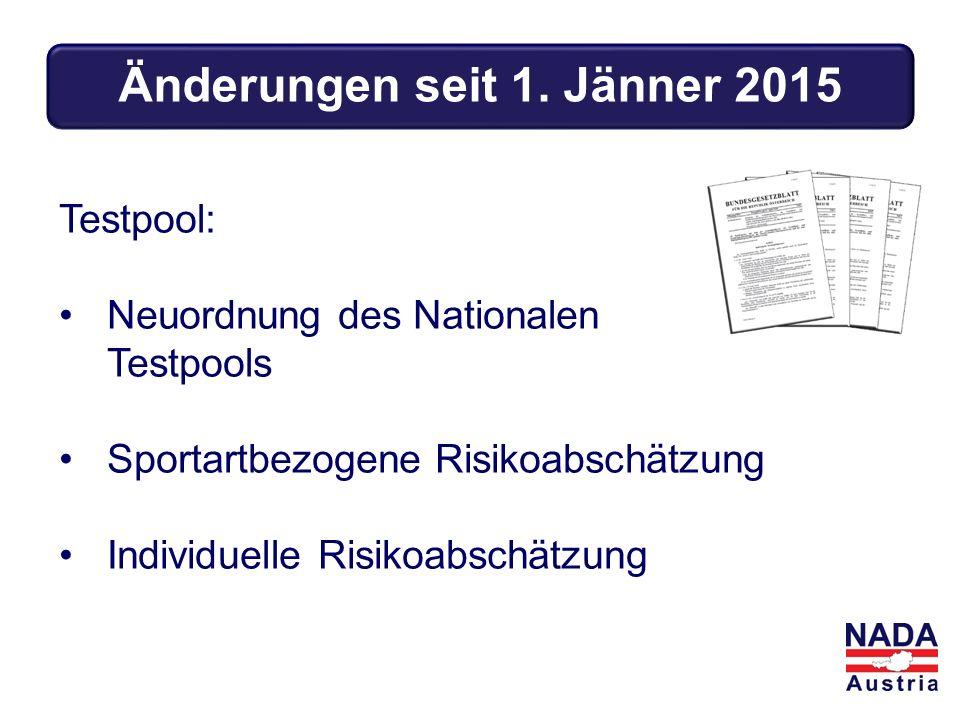 Testpool: Neuordnung des Nationalen Testpools Sportartbezogene Risikoabschätzung Individuelle Risikoabschätzung Änderungen seit 1.