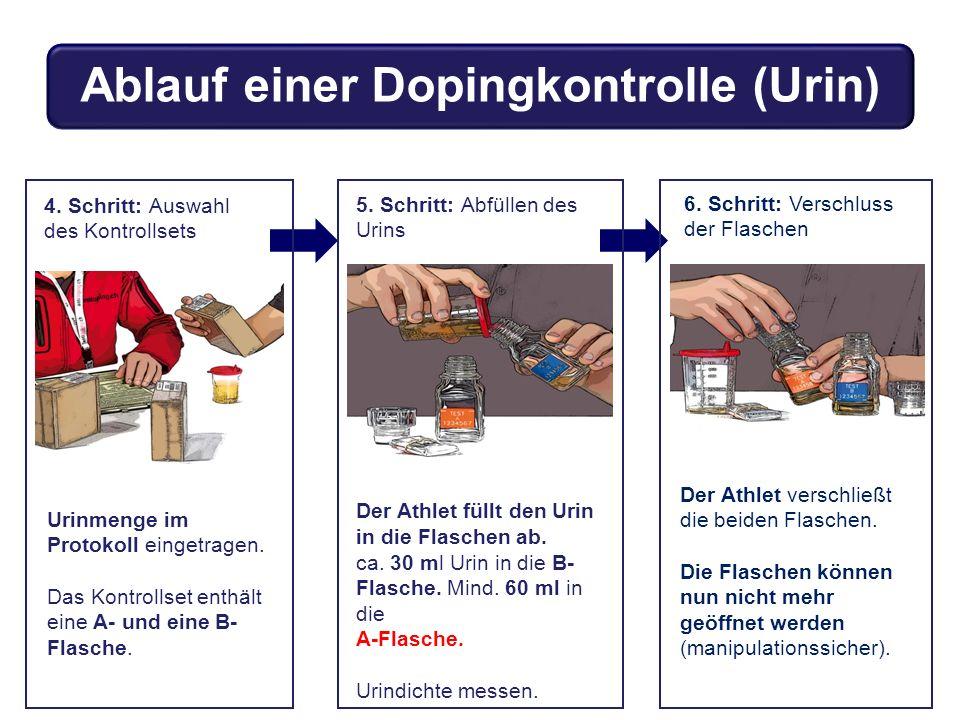 4. Schritt: Auswahl des Kontrollsets Urinmenge im Protokoll eingetragen. Das Kontrollset enthält eine A- und eine B- Flasche. 5. Schritt: Abfüllen des