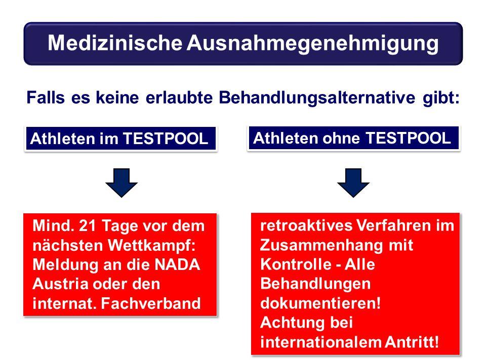 Falls es keine erlaubte Behandlungsalternative gibt: Athleten im TESTPOOL Mind. 21 Tage vor dem nächsten Wettkampf: Meldung an die NADA Austria oder d