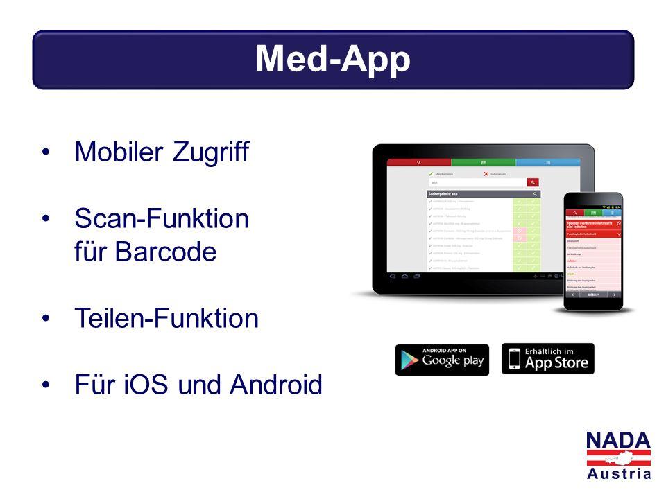 Mobiler Zugriff Scan-Funktion für Barcode Teilen-Funktion Für iOS und Android Med-App