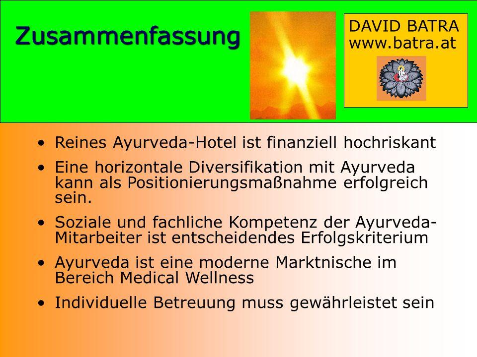 Zusammenfassung Reines Ayurveda-Hotel ist finanziell hochriskant Eine horizontale Diversifikation mit Ayurveda kann als Positionierungsmaßnahme erfolg