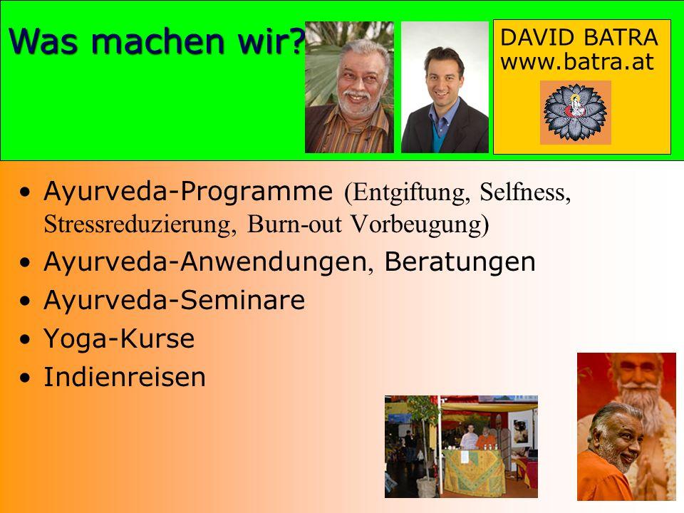 Herzlichen Dank Was machen wir? DAVID BATRA www.batra.at Ayurveda-Programme (Entgiftung, Selfness, Stressreduzierung, Burn-out Vorbeugung) Ayurveda-An