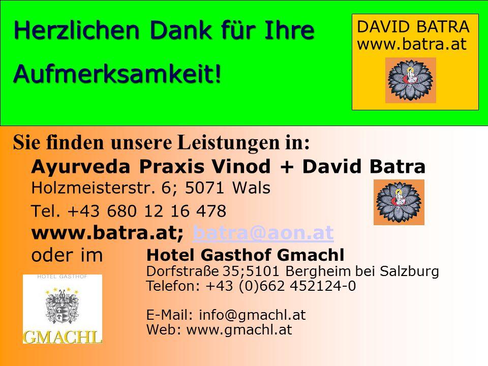 Herzlichen Dank DAVID BATRA www.batra.at Herzlichen Dank für Ihre Aufmerksamkeit! Sie finden unsere Leistungen in: Ayurveda Praxis Vinod + David Batra