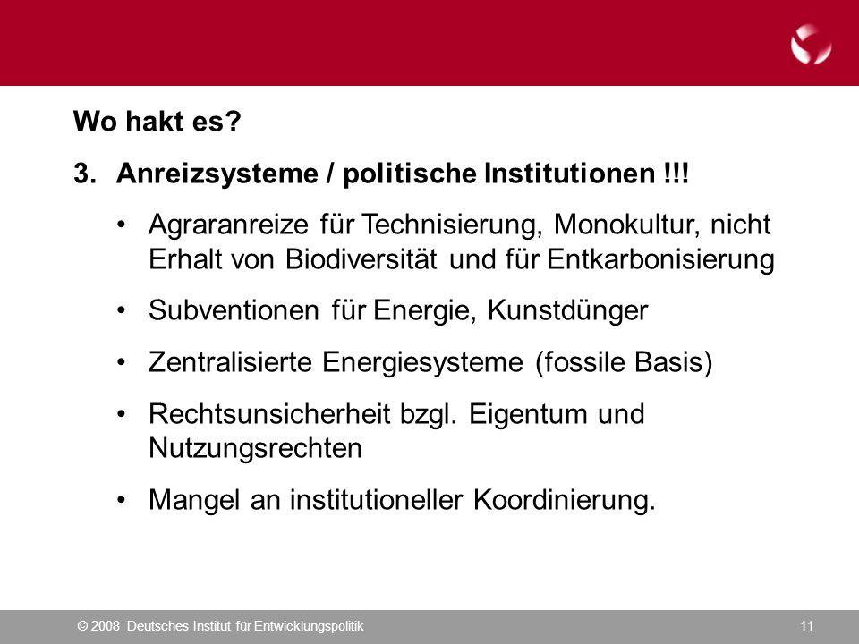 © 2008 Deutsches Institut für Entwicklungspolitik11 Wo hakt es.