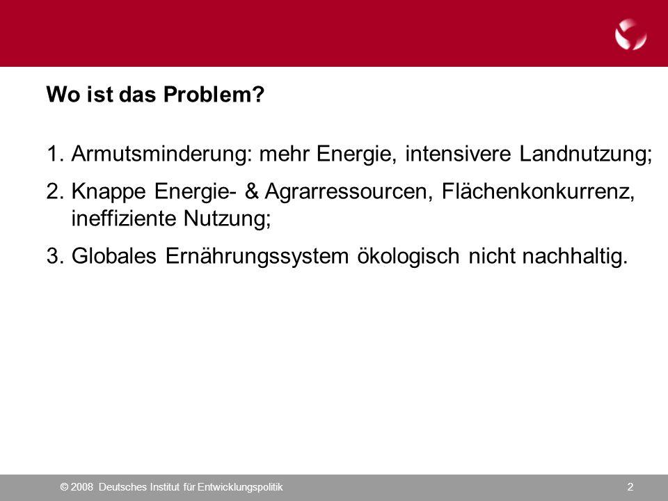 © 2008 Deutsches Institut für Entwicklungspolitik13 Was bedeutet dies für die deutsche EZ.