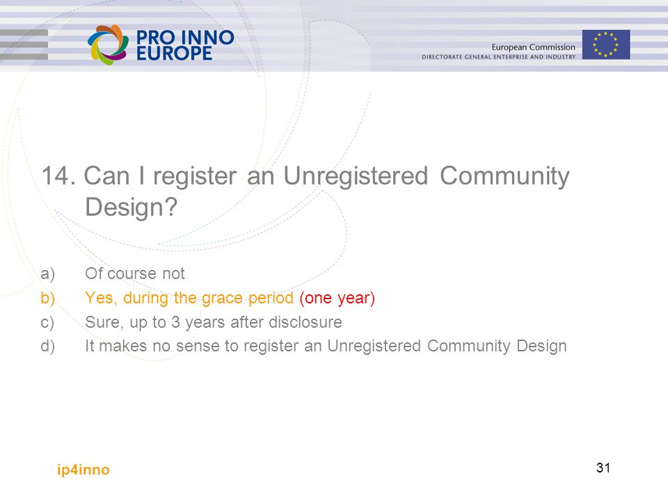 ip4inno 31 14. Can I register an Unregistered Community Design.