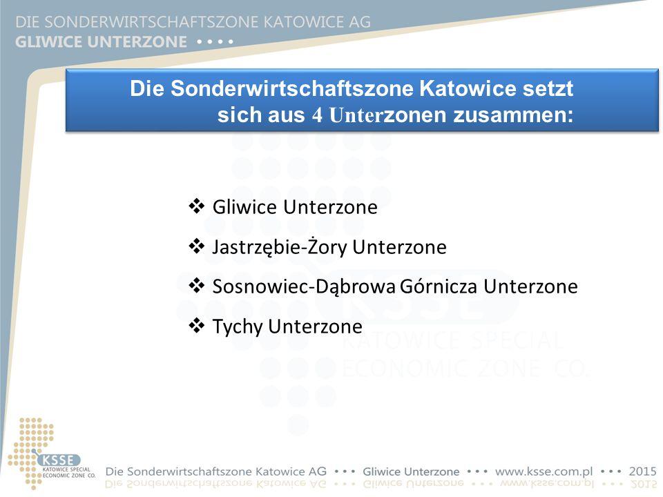 Die Sonderwirtschaftszone Katowice setzt sich aus 4 Unter zonen zusammen:  Gliwice Unterzone  Jastrzębie-Żory Unterzone  Sosnowiec-Dąbrowa Górnicza Unterzone  Tychy Unterzone