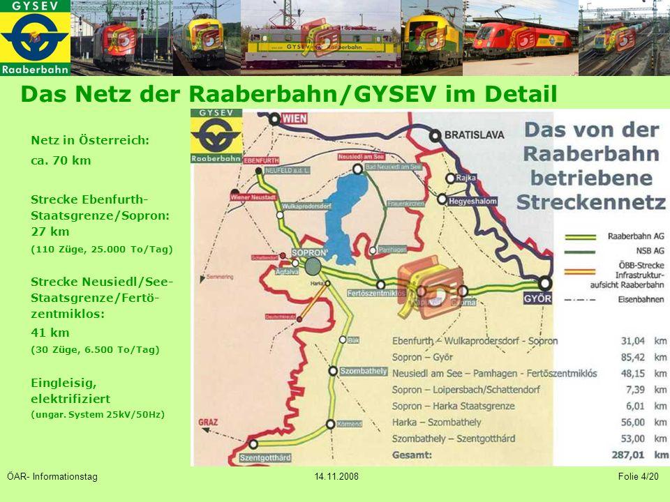 Das Netz der Raaberbahn/GYSEV im Detail Netz in Österreich: ca.
