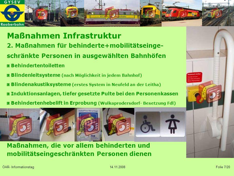 2. Maßnahmen für behinderte+mobilitätseinge- schränkte Personen in ausgewählten Bahnhöfen ◙ Behindertentoiletten ◙ Blindenleitsysteme (nach Möglichkei