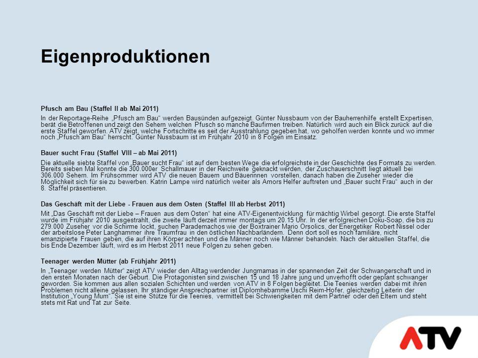 """Eigenproduktionen Pfusch am Bau (Staffel II ab Mai 2011) In der Reportage-Reihe """"Pfusch am Bau werden Bausünden aufgezeigt."""