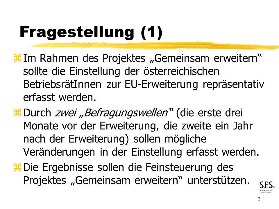 """3 zIm Rahmen des Projektes """"Gemeinsam erweitern sollte die Einstellung der österreichischen BetriebsrätInnen zur EU-Erweiterung repräsentativ erfasst werden."""