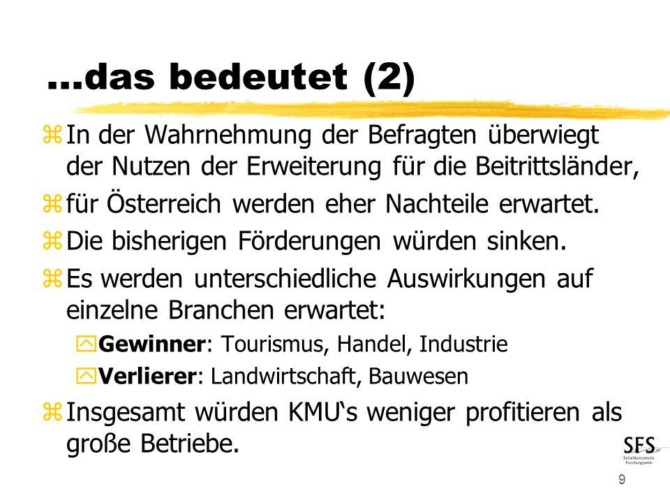 9 zIn der Wahrnehmung der Befragten überwiegt der Nutzen der Erweiterung für die Beitrittsländer, zfür Österreich werden eher Nachteile erwartet.