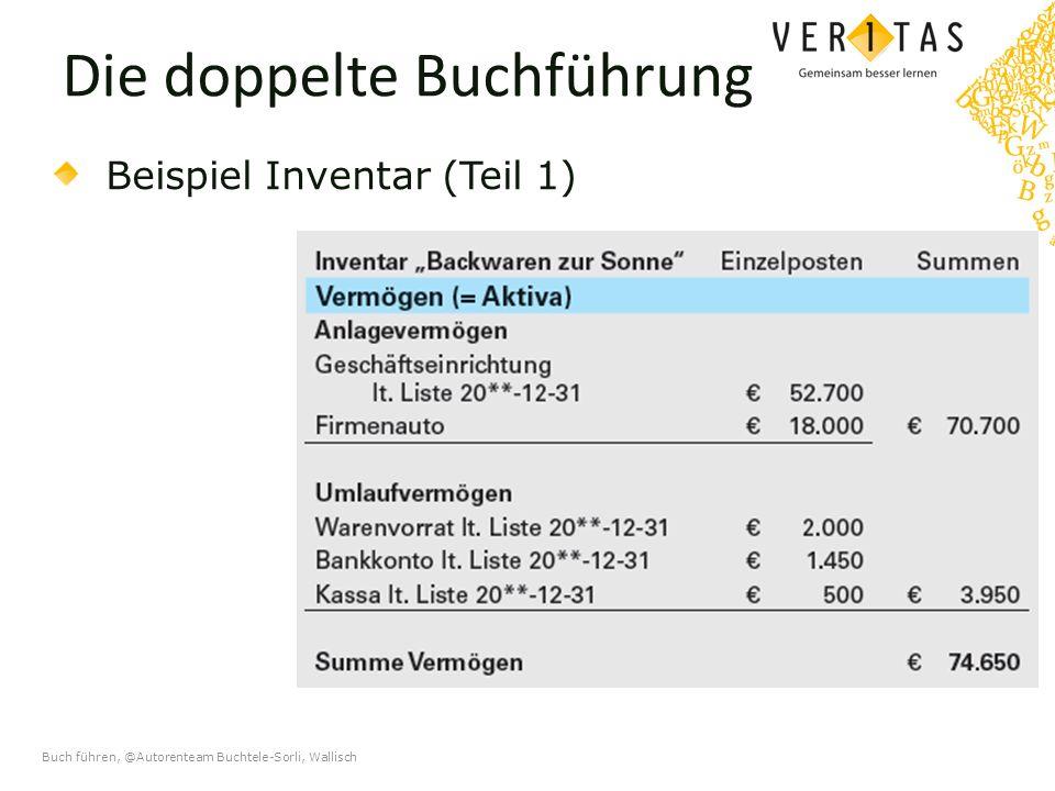 Buch führen, @Autorenteam Buchtele-Sorli, Wallisch Die doppelte Buchführung Beispiel Inventar (Teil 1)