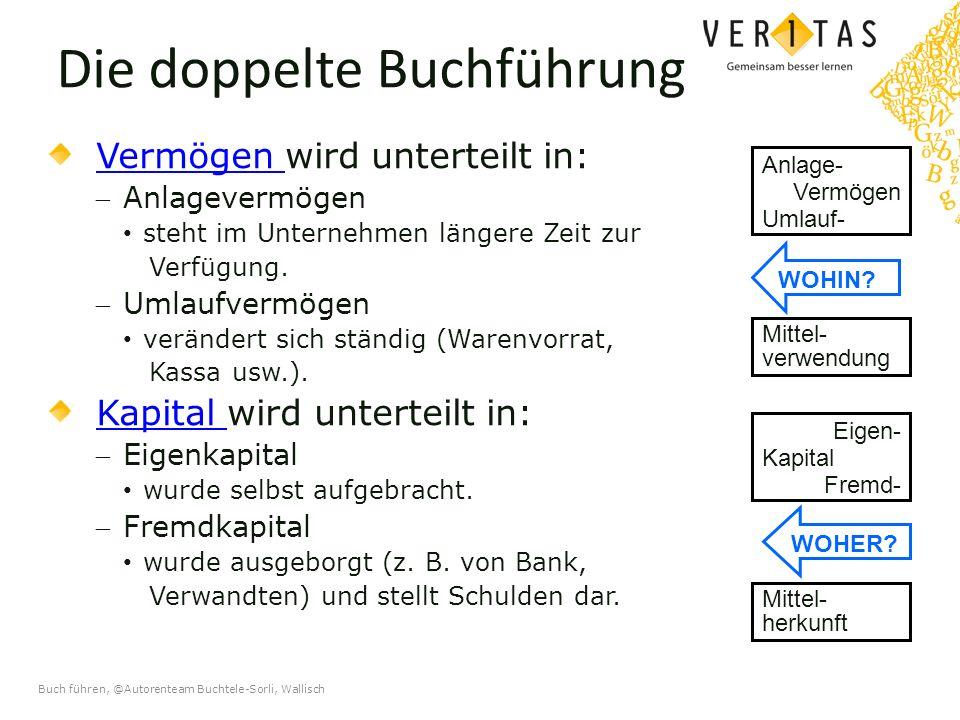 Buch führen, @Autorenteam Buchtele-Sorli, Wallisch Die doppelte Buchführung Vermögen Vermögen wird unterteilt in: Anlagevermögen steht im Unternehmen längere Zeit zur Verfügung.