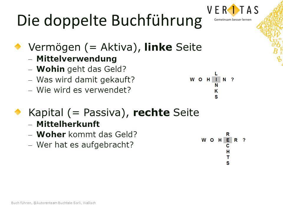 Buch führen, @Autorenteam Buchtele-Sorli, Wallisch Die doppelte Buchführung Vermögen (= Aktiva), linke Seite Mittelverwendung Wohin geht das Geld.