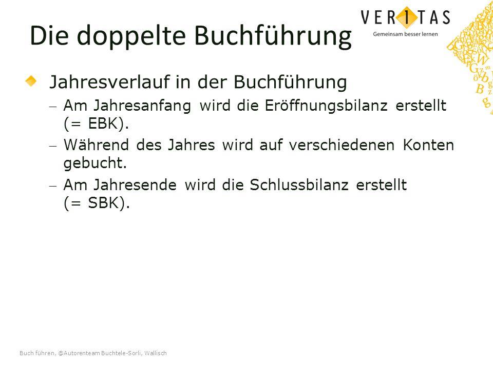 Buch führen, @Autorenteam Buchtele-Sorli, Wallisch Die doppelte Buchführung Jahresverlauf in der Buchführung Am Jahresanfang wird die Eröffnungsbilanz erstellt (= EBK).