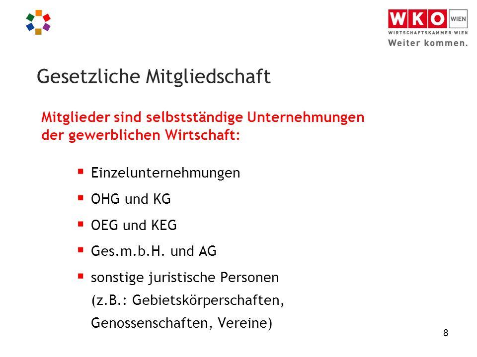 8 Mitglieder sind selbstständige Unternehmungen der gewerblichen Wirtschaft:  Einzelunternehmungen  OHG und KG  OEG und KEG  Ges.m.b.H. und AG  s