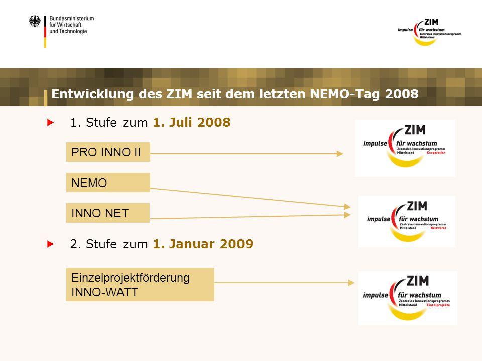 Entwicklung des ZIM seit dem letzten NEMO-Tag 2008  1.