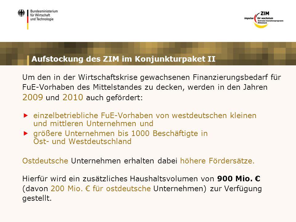 Aufstockung des ZIM im Konjunkturpaket II Um den in der Wirtschaftskrise gewachsenen Finanzierungsbedarf für FuE-Vorhaben des Mittelstandes zu decken, werden in den Jahren 2009 und 2010 auch gefördert:  einzelbetriebliche FuE-Vorhaben von westdeutschen kleinen und mittleren Unternehmen und  größere Unternehmen bis 1000 Beschäftigte in Ost- und Westdeutschland Ostdeutsche Unternehmen erhalten dabei höhere Fördersätze.