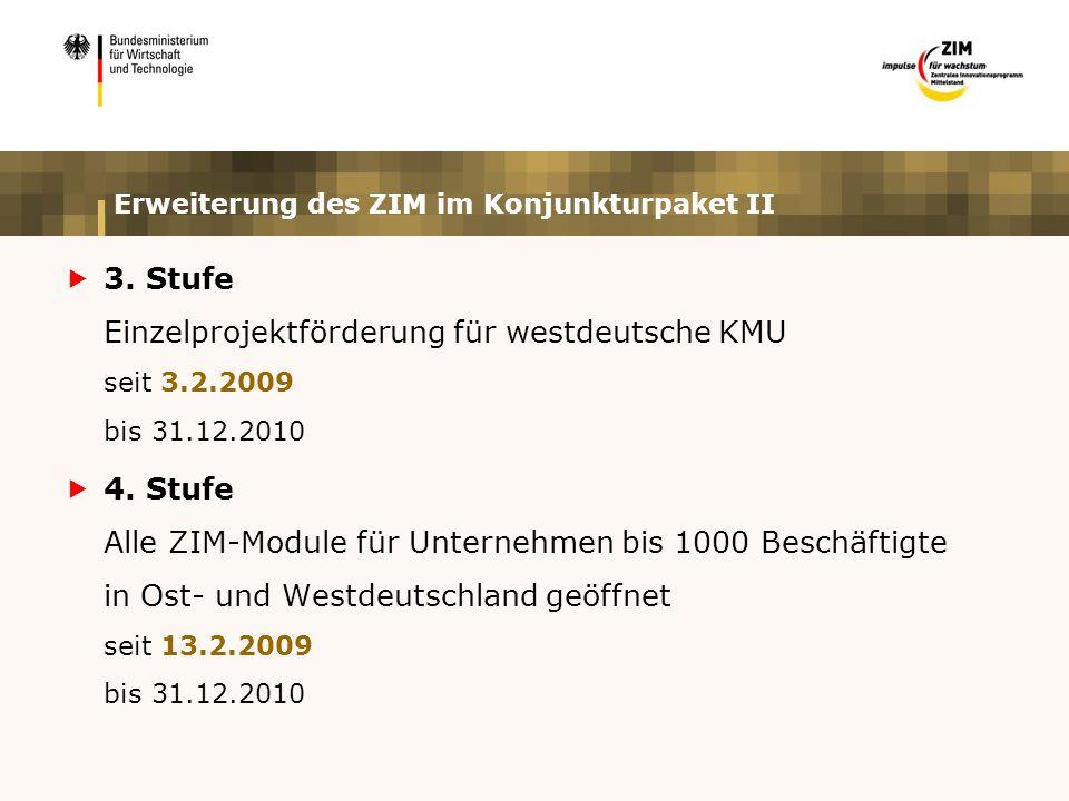 Zentrales Innovationsprogramm Mittelstand (ZIM) Z I M Modul 1 ZIM-KOOP FuE-Kooperationen zwischen Unternehmen und mit Forschungs- einrichtungen Modul 2 ZIM-NEMO Netzwerkprojekte innovativer KMU Modul 3 ZIM-SOLO Einzelbetriebliche FuE-Projekte Projektträger: AiF Berlin Projektträger: VDI/VDE-IT Projektträger: EuroNorm in Kooperation mit VDI/VDE-IT