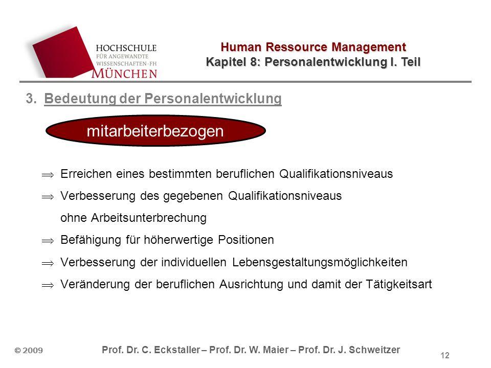 Human Ressource Management Kapitel 8: Personalentwicklung I. Teil © 2009 Prof. Dr. C. Eckstaller – Prof. Dr. W. Maier – Prof. Dr. J. Schweitzer 12 3.B