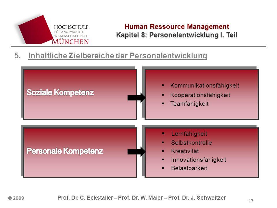 Human Ressource Management Kapitel 8: Personalentwicklung I. Teil © 2009 Prof. Dr. C. Eckstaller – Prof. Dr. W. Maier – Prof. Dr. J. Schweitzer 5.Inha