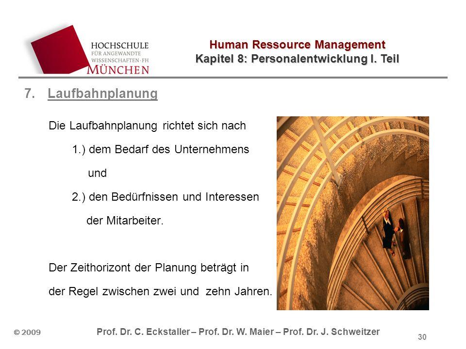 Human Ressource Management Kapitel 8: Personalentwicklung I. Teil © 2009 Prof. Dr. C. Eckstaller – Prof. Dr. W. Maier – Prof. Dr. J. Schweitzer 7.Lauf