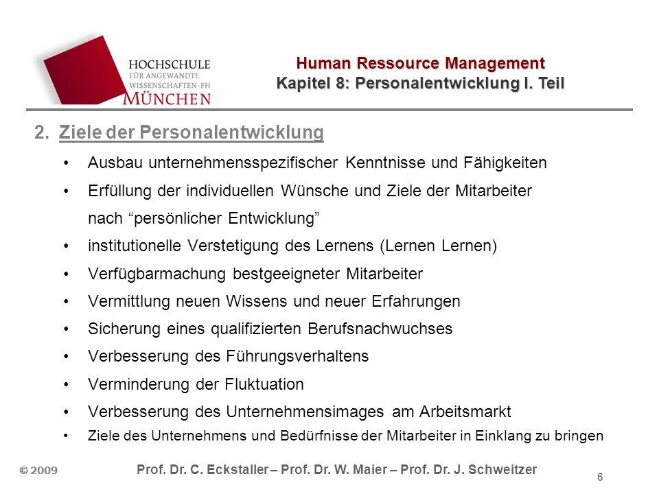 Human Ressource Management Kapitel 8: Personalentwicklung I. Teil © 2009 Prof. Dr. C. Eckstaller – Prof. Dr. W. Maier – Prof. Dr. J. Schweitzer 6 2.Zi