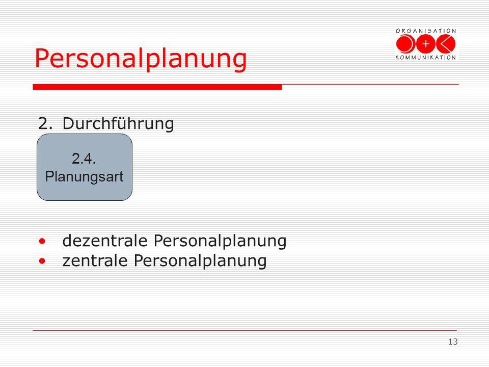 13 2.Durchführung dezentrale Personalplanung zentrale Personalplanung Personalplanung 2.4. Planungsart