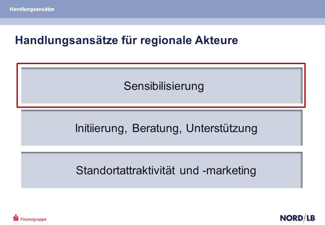 Handlungsansätze für regionale Akteure Sensibilisierung Initiierung, Beratung, Unterstützung Standortattraktivität und -marketing Handlungsansätze