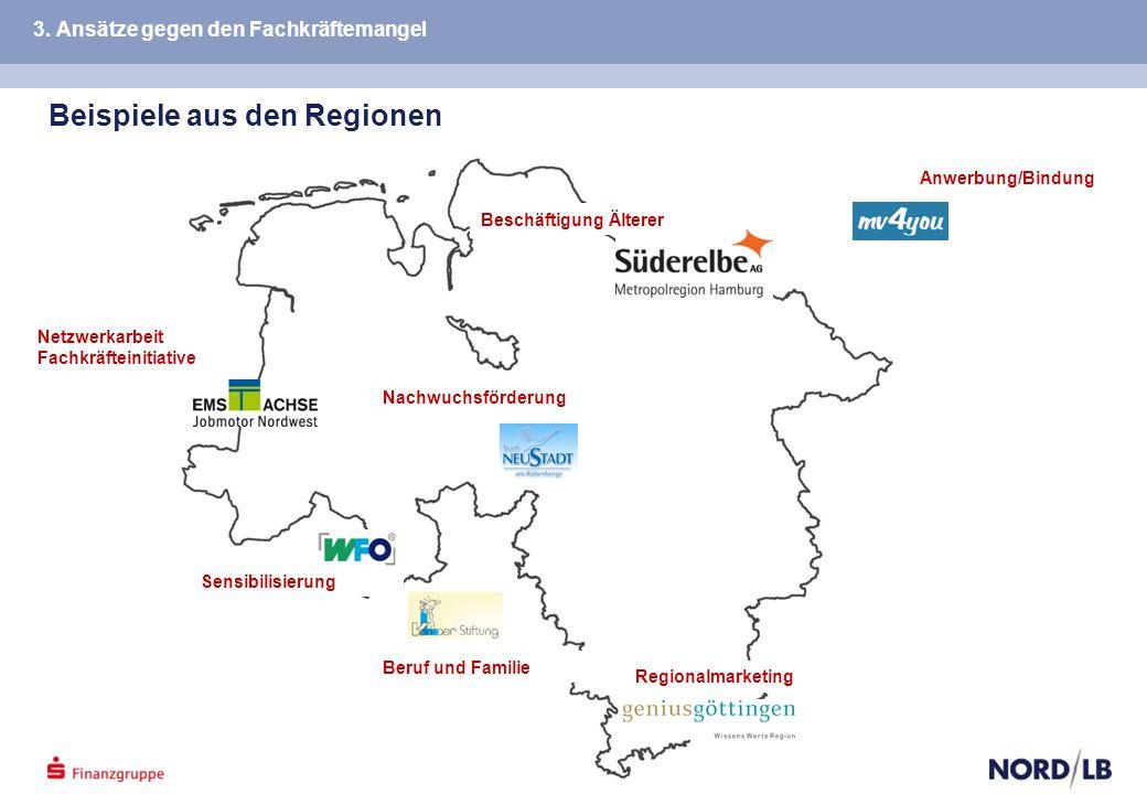Beispiele aus den Regionen Beschäftigung Älterer Nachwuchsförderung Beruf und Familie Anwerbung/Bindung Sensibilisierung Regionalmarketing Netzwerkarbeit Fachkräfteinitiative 3.