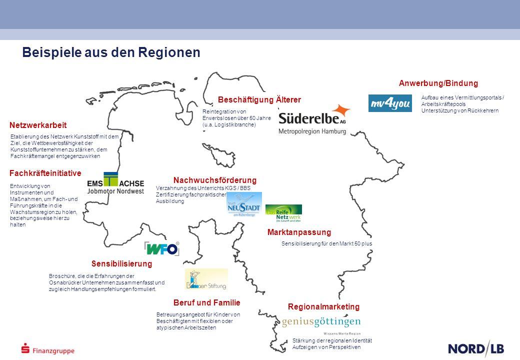 Beispiele aus den Regionen Beschäftigung Älterer Nachwuchsförderung Beruf und Familie Anwerbung/Bindung Sensibilisierung Regionalmarketing Marktanpassung Netzwerkarbeit Fachkräfteinitiative Broschüre, die die Erfahrungen der Osnabrücker Unternehmen zusammenfasst und zugleich Handlungsempfehlungen formuliert.