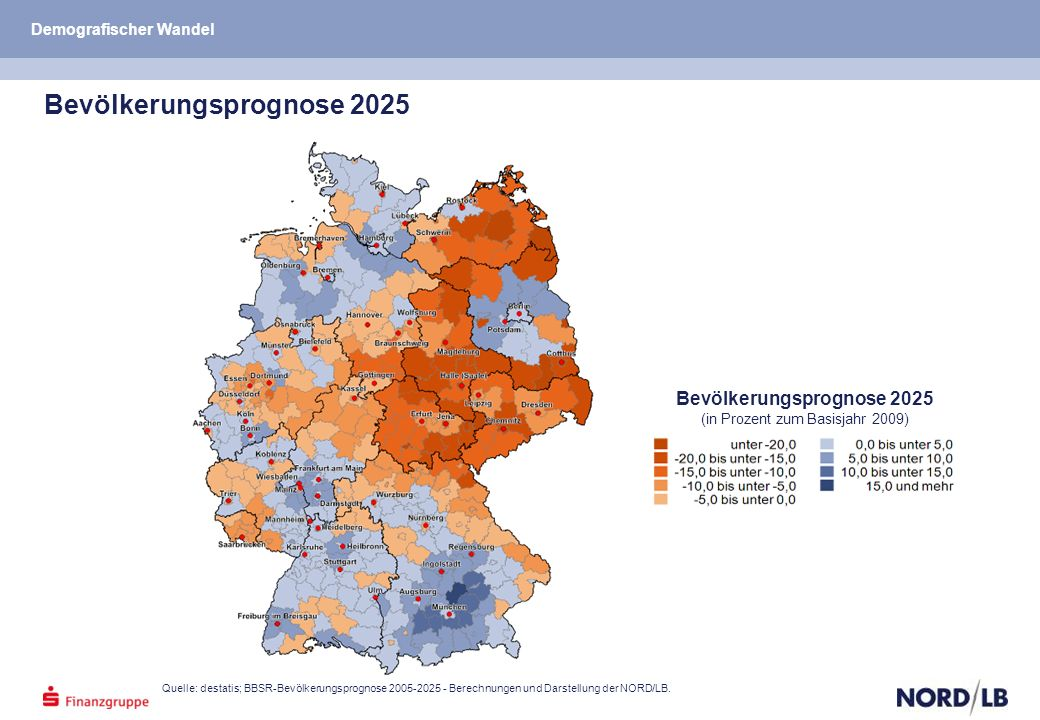 Quelle: destatis; BBSR-Bevölkerungsprognose 2005-2025 - Berechnungen und Darstellung der NORD/LB.
