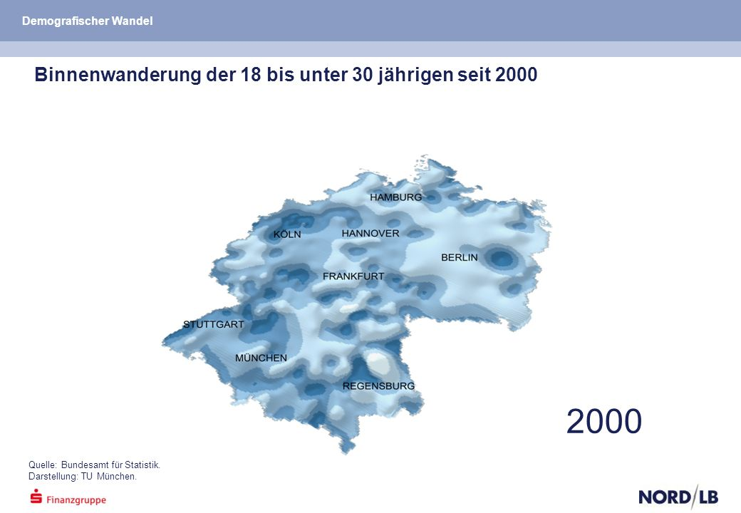 Binnenwanderung der 18 bis unter 30 jährigen seit 2000 2000 Quelle: Bundesamt für Statistik.