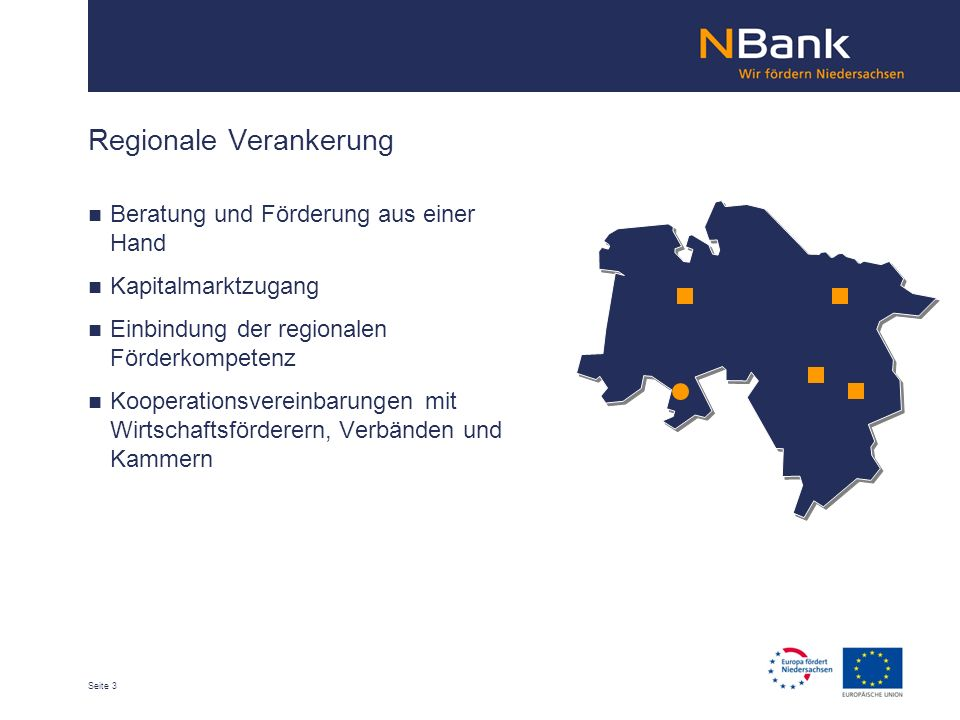 Seite 3 Regionale Verankerung Beratung und Förderung aus einer Hand Kapitalmarktzugang Einbindung der regionalen Förderkompetenz Kooperationsvereinbarungen mit Wirtschaftsförderern, Verbänden und Kammern