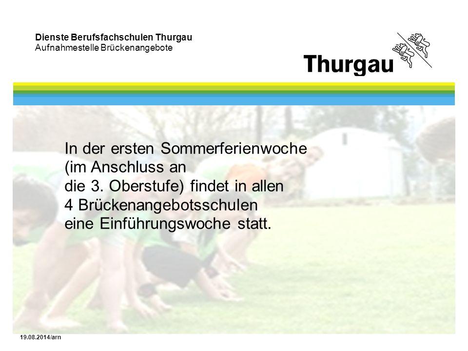 Dienste Berufsfachschulen Thurgau Aufnahmestelle Brückenangebote 19.08.2014/arn In der ersten Sommerferienwoche (im Anschluss an die 3. Oberstufe) fin