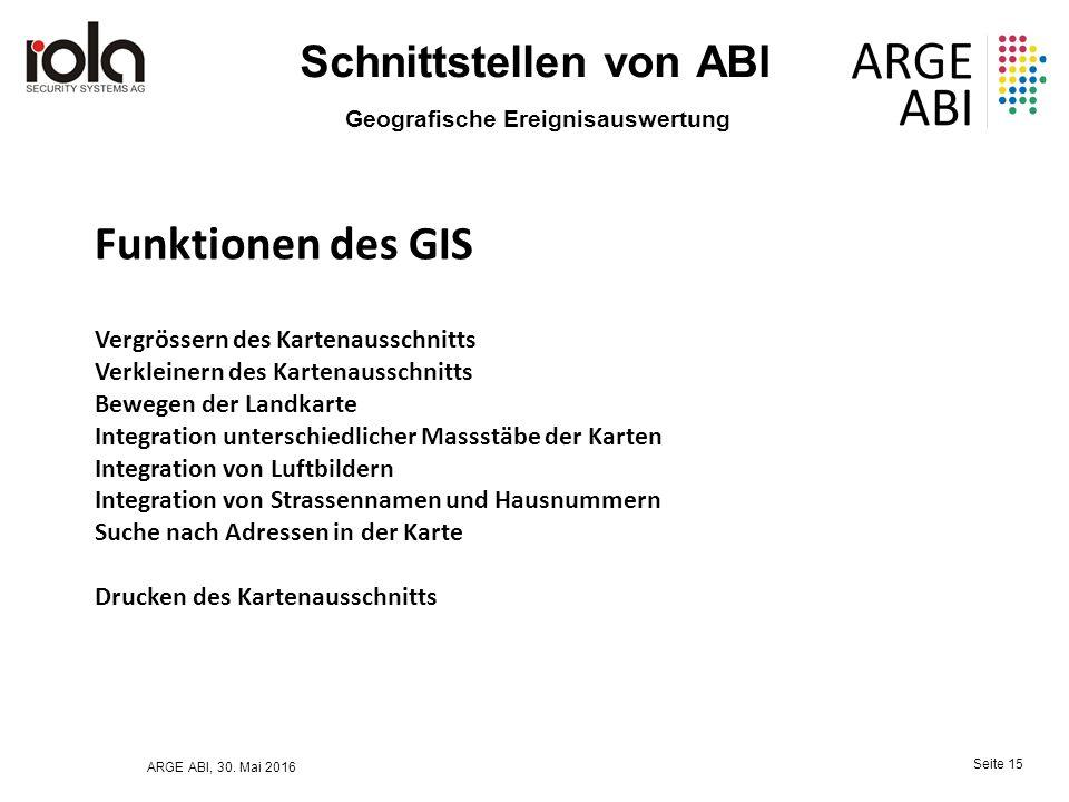 ARGE ABI, 30. Mai 2016 Seite 15 Schnittstellen von ABI Geografische Ereignisauswertung Vergrössern des Kartenausschnitts Verkleinern des Kartenausschn