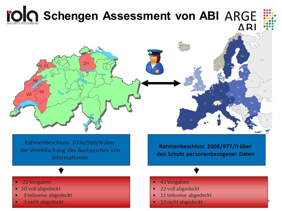 ARGE ABI, 30. Mai 2016 Seite 4 4 VD FR NE ZH JU Rahmenbeschluss 2006/960/JI über die Vereinfachung des Austausches von Informationen Rahmenbeschluss 2