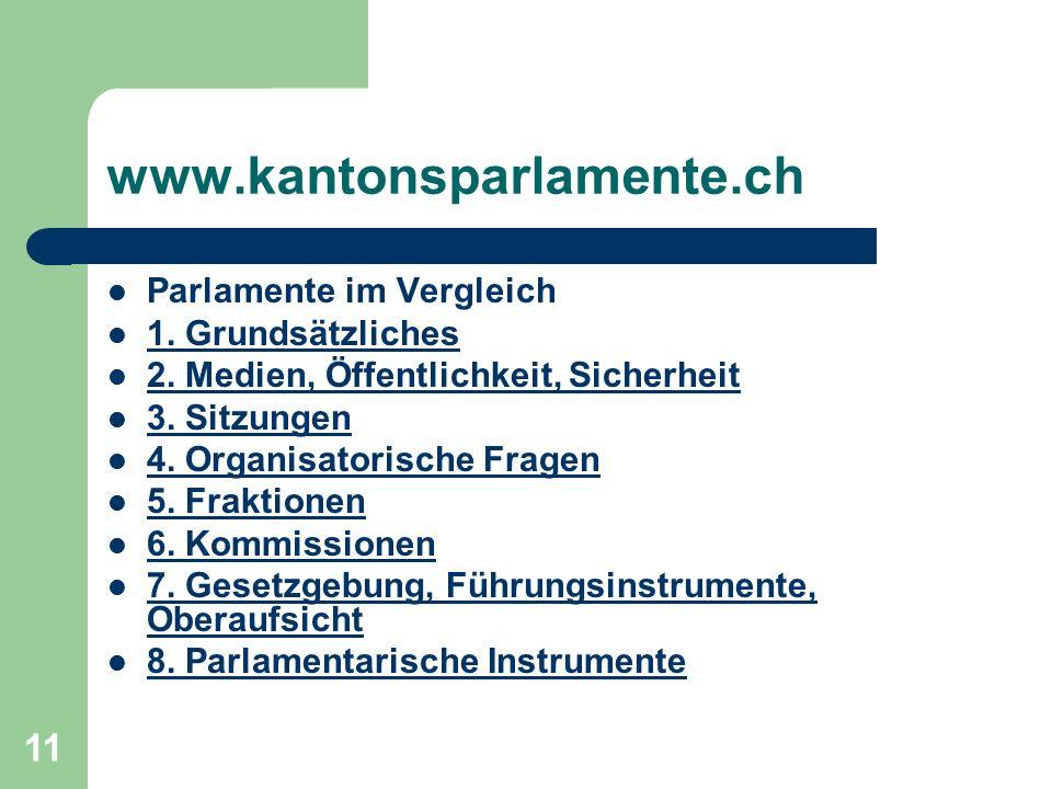 11 www.kantonsparlamente.ch Parlamente im Vergleich 1.