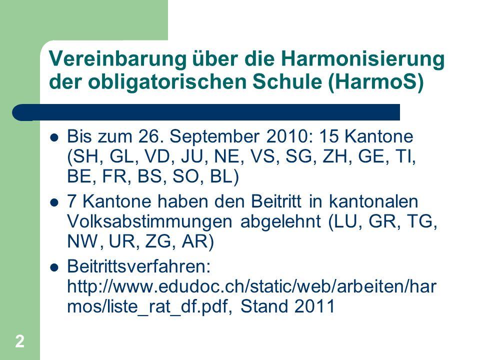 2 Vereinbarung über die Harmonisierung der obligatorischen Schule (HarmoS) Bis zum 26.